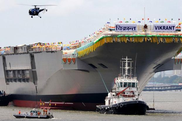India's first indigenously built aircraft carrier INS Vikrant. Photo: AFP