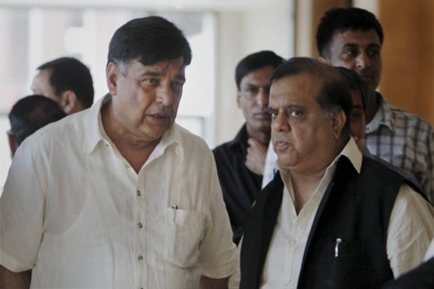 IOA's Lalit Bhanot and Hockey India secretary general Narinder Batra (R) after the IOA's general body meeting in New Delhi on Sunday. Photo: PTI (PTI)