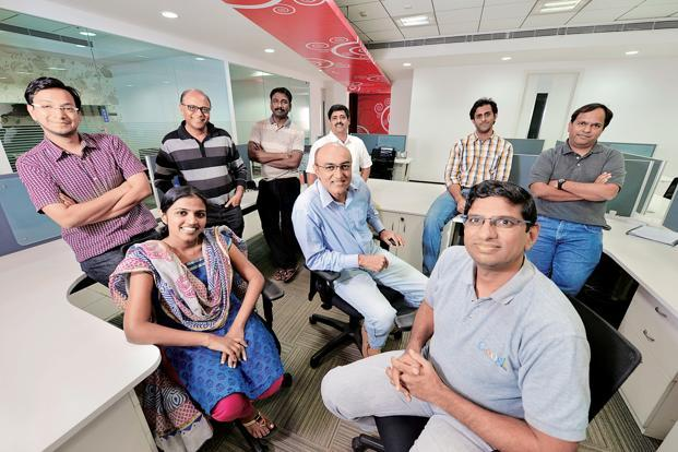 Srikanth Nadhamuni (centre) with his core team at his Bangalore office. Photo: Hemant Mishra/Mint