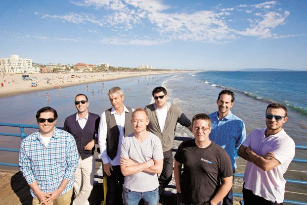(From left) Josh Brooks, Amit Kapur, Chris DeWolfe, Jim Benedetto, Colin Digiaro, Steve Pearman, Josh Berman and Aber Whitcomb, founding staff members of Myspace, in Santa Monica, California. Almost every member of Myspace's founding team has begun a new venture, and several are among the leaders of Los Angeles' blossoming start-up industry, now known as Silicon Beach.