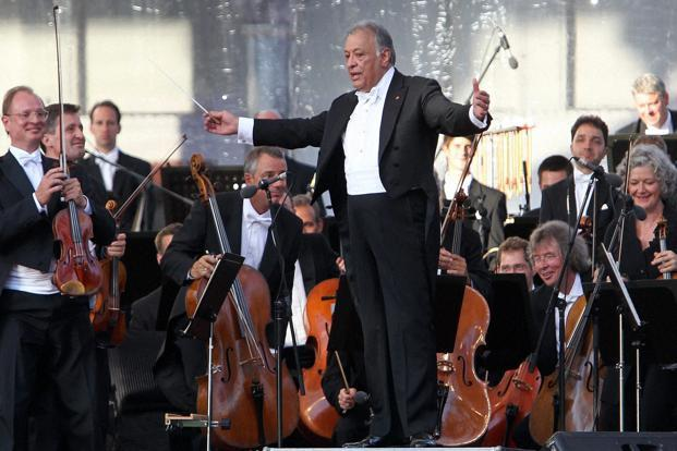 Zubin Mehta performs during Ehsaas-e-Kashmir concert at Shalimar Garden in Srinagar on Saturday. Photo: PTI
