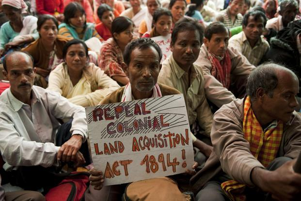 A file photo of people protesting against the land acquisition policy in New Delhi. Photo: Manpreet Romana/AFP (Manpreet Romana/AFP)