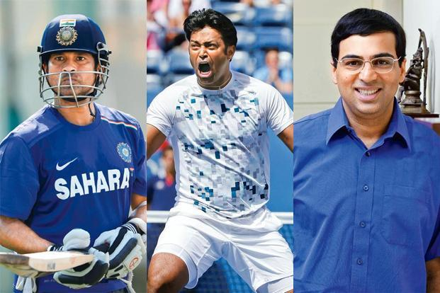 (From left) Sachin Tendulkar, Leander Paes and Viswanathan Anand. Photographs: Gareth Copley/Getty Images; David Goldman/AP; Babu Ponnapan/Mint