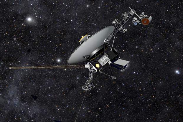 This artist rendering shows NASA's Voyager 1 spacecraft barreling through space. NASA scientists confirmed today that the Voyager 1 space probe has become the first human-made object to leave the solar system and venture into interstellar space. AP
