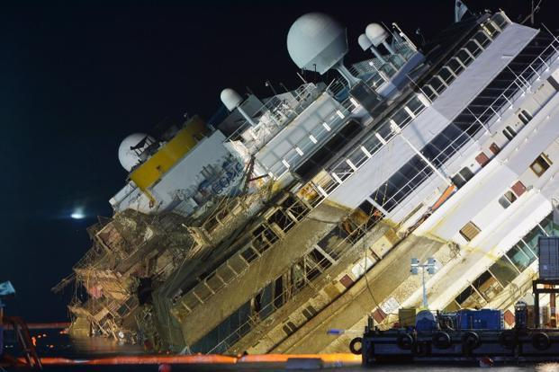 Italy Cruise Wreck Costa Concordia Turned Upright In