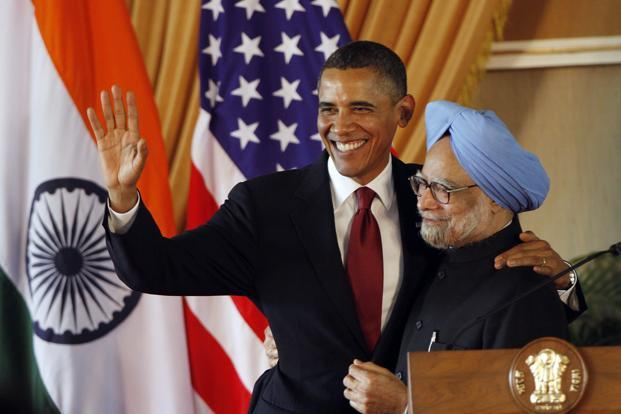US President Barack Obama (left) hosted Indian Prime Minister Manmohan Singh for the first state dinner of his presidency in 2009 and paid his own state visit to India a year later. Photo: Bloomberg