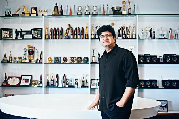 Prasoon Joshi says the awards displayed in his office relate to his advertising successes, those at home are for his literary achievements. Photographs: Vikas Munipalle/Mint