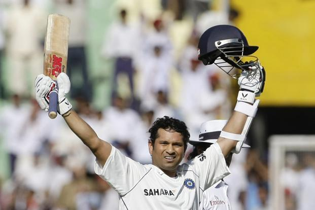 Sachin Tendulkar at Mohali against Australia on 17 October 2008, after becoming the Test cricket's leading scorer. Photo: AP