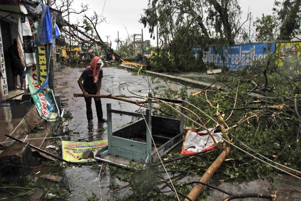 A man salvages a table stuck in trees uprooted by Cyclone Phailin on a road in Berhampur, Odisha on Sunday. Photo: Bikas Das/AP (Bikas Das/AP)