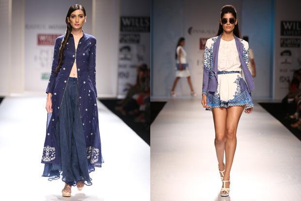 (From left) Designs by Rahul Mishra; Pankaj and Nidhi