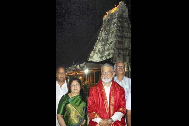 Isro chairman K. Radhakrishnan with wife Padmini at Tirupati on 4 November. Amidst speculations of India's rivalry with China in space technology, Radhakrishnan has denied there was a space race with any country. PTI