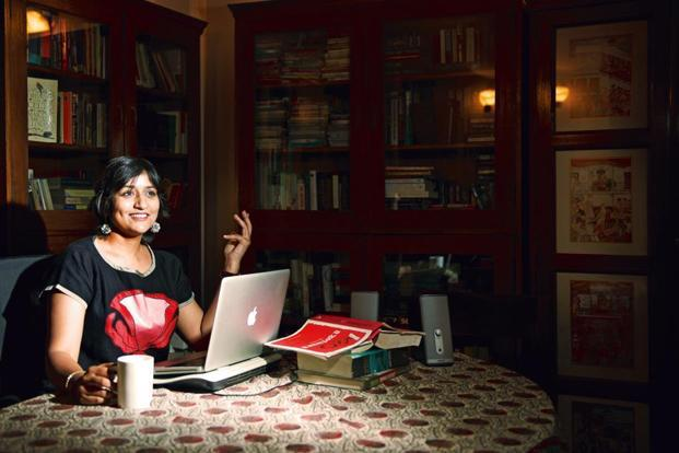 Nilanjana Roy at her desk in her house in New Delhi. Photo: Priyanka Parashar/Mint