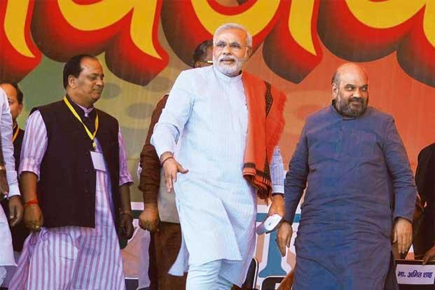 Narendra Modi with his long-time loyalist Amit Shah during a rally in Agra this month. Photo: Avinash Jaiswal/Hindustan Times
