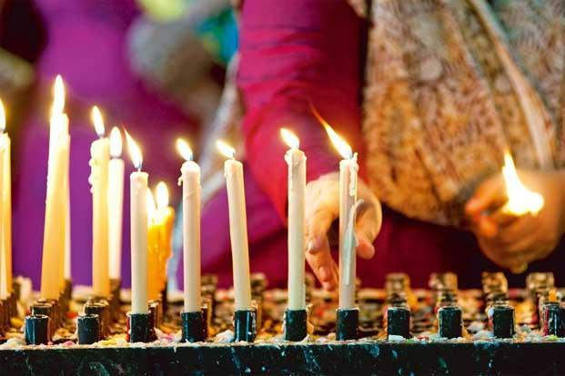 Candles at the shrine of Infant Jesus. Photographs by Aniruddha Chowdhury/Mint