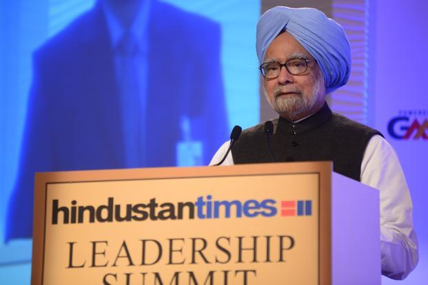 "Speaking at the HT Leadership Summit on Friday, Manmohan Singh said the Congress Party was going to the forthcoming elections with ""self confidence"". Photo: Ramesh Pathania/Mint"
