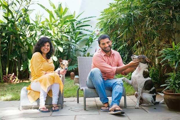 Shobitha Mani And Gautam John With Their Dogs Ella Sparky At Bangalore Home