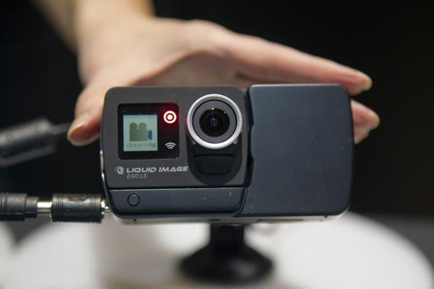 A Liquid Image wearable camera on display. The camera is capable of streaming video live over Long Term Evolution (LTE) wireless connectivity with the addition of a detachable module. Reuters