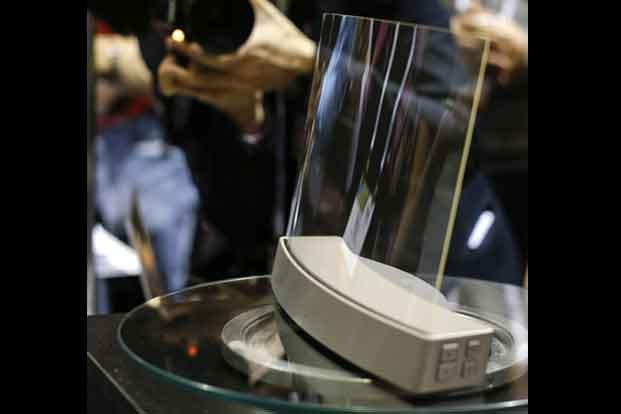 A glass speaker called Clio on display at the show. The speaker, produced by ClearView Audio uses a single piece of curved millimeter-thick acrylic glass that sits on a dock which vibrates in a finely tuned way so that it can play music. AP