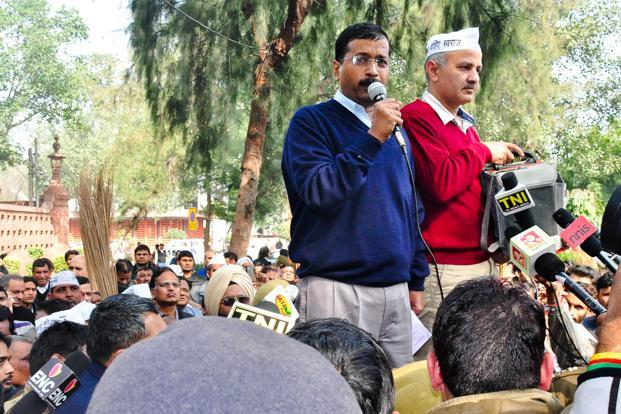 Delhi chief minister Arvind Kejriwal was stopped near the Rail Bhawan as the nearby Vijay Chowk and Rajpath areas were sealed for the Republic Day rehearsal. Photo: Rituparna Banerjee/Mint