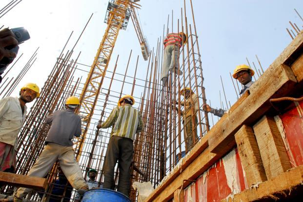 Construction saw the sharpest deceleration of 1.1% against the earlier CSO estimate of 5.9% acceleration, while financial services and real estate grew at a faster trot of 10.9% compared with the 8.6% estimated earlier. Photo: Indranil Bhoumik/Mint