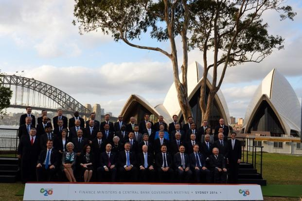 Delegates of the G-20 finance ministers and central bank governors in Sydney, Australia on Saturday. Photo: Saeed Khan/AFP