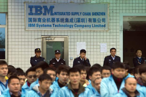 IBM workers protest at an IBM factory in Shenzhen, Guangdong province. Photo: Reuters