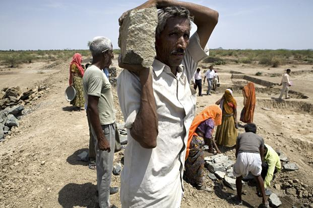 A file photo of villagers in Rajasthan building a water channel and a wall for water harvesting under MGNREGS. Photo: Mint