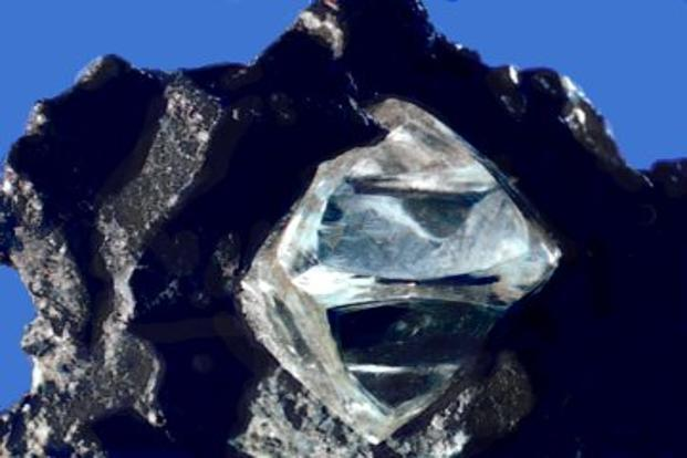 Nearly octahedral diamond crystal in matrix. Photo: Wikimedia Commons