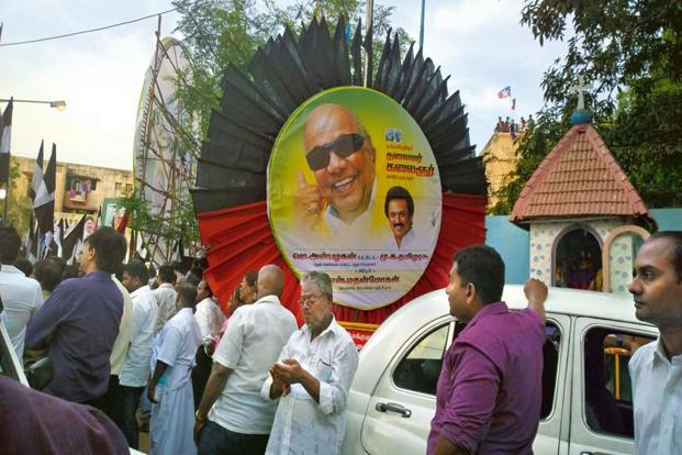 Dayanidhi Maran's image is missing from DMK posters. Photo: S Bridget Leena Thangam/Mint