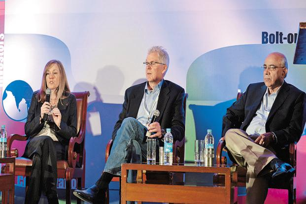 (From left) Citi Global Consumer Technology's managing director of global digital development Dawn Page, The Kroger Co. CIO Chris Hjelm and Colgate-Palmolive's vice-president of global strategic innovation and technology alliances Jay Jayaraman at InTech50. Photo: Hemant Mishra/Mint