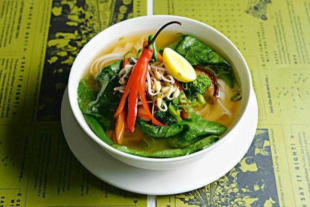 Vegetarian Vietnamese pho at the Asian Street Kitchen, Mumbai