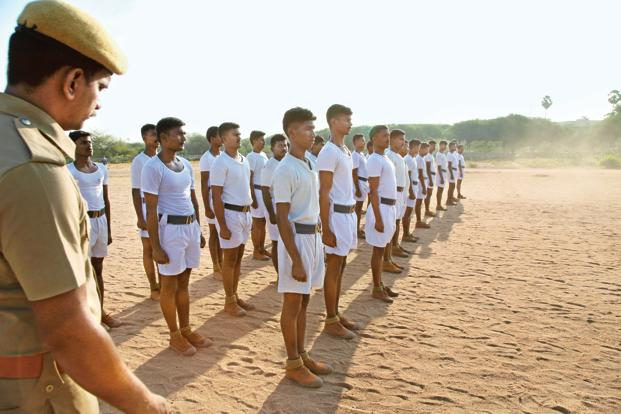 Recruits train in Madurai to join the home guard department. Photo: Pandiarajan/Mint