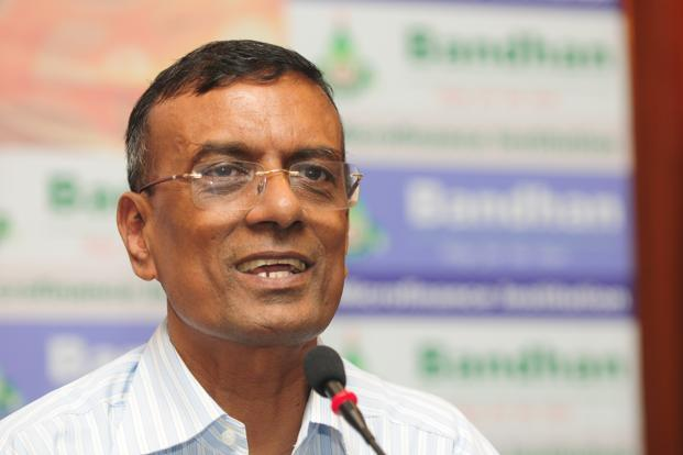 Bandhan chairman C.S. Ghosh says the microlender could cut its lending rate at least 3 percentage points by using deposits instead of bank credit to fund loans. Photo: Indranil Bhoumik/Mint