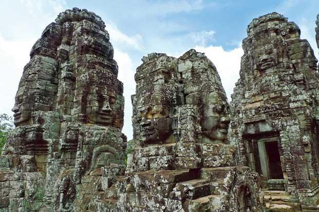 The Bayon temple. Photographs from Wikimedia Commons