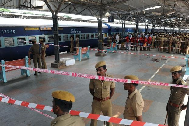 The bomb blasts occurred at 7.15am, as the Bangalore-Guwahati Express approached Platform No. 9 of the Chennai central railway station. Photo: AFP
