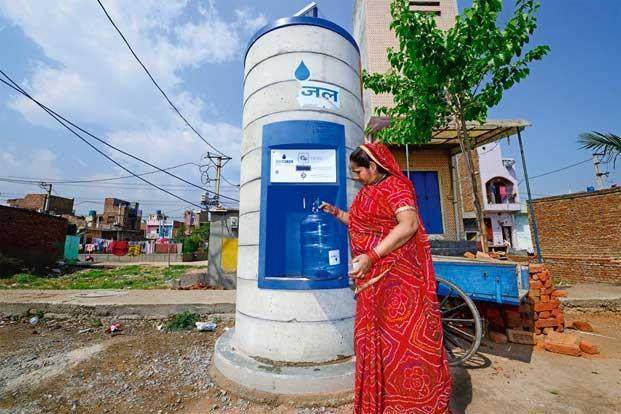 Ramkumari, a construction worker, says she can't afford to buy water at these ATMs