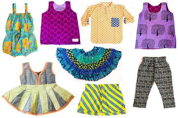 From 'hippie' rompers with cute animal motifs, dresses for newborns in batik, 'kurtas' and shirts in block-printed fabrics with pockets and detailing in contrasting colours, pin-tucked, A-line dresses that can be worn as tops as the child grows taller, and fold-up shorts made out of full-size 'lungis' eight thousand miles' clothes for children fall in the boho-chic category
