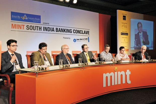 Experts discuss financial inclusion and its sustainability at Mint's first annual South India Banking Conclave. Photo: Hemant Mishra/Mint