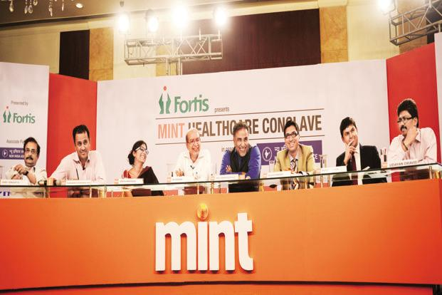 Panellists discuss health-related issues at the Mint Healthcare Conclave. Photo: Ramesh Pathania/Mint