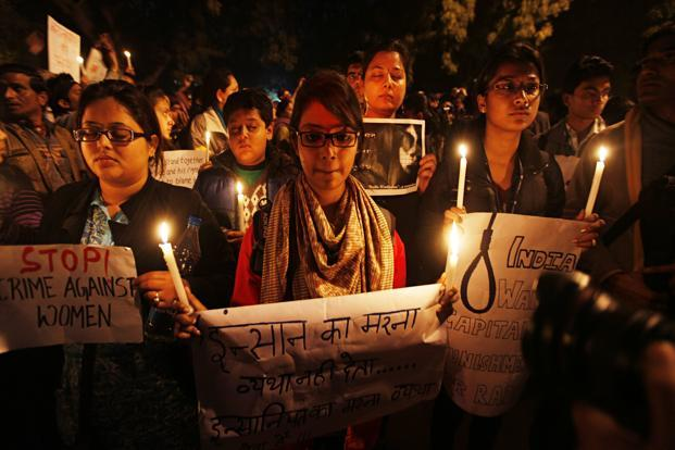 A file photo of candle light protest in New Delhi. Photo: Hindustan Times