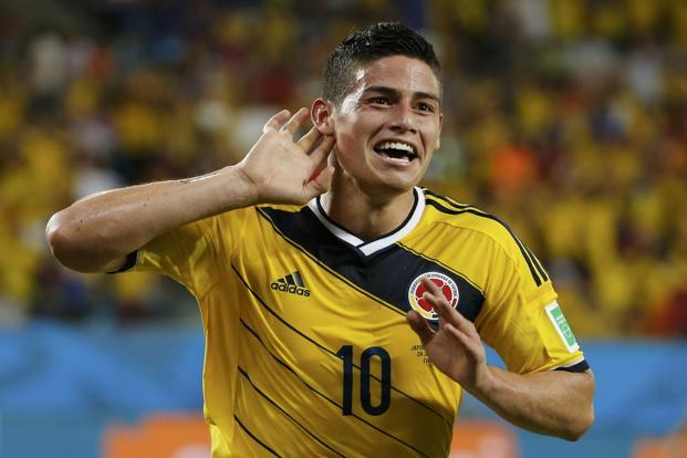Columbia's James Rodriguez, one of the eight players rested from the starting lineup by coach Jose Pekerman after the 2-1 win over Ivory Coast, wrapped up the win with a delightful fourth goal. Photo: Reuters