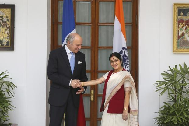 Laurent Fabius is the first foreign minister of a western country to visit India since the new government headed by Prime Minister Narendra Modi took office on 26 May. Photo: AP