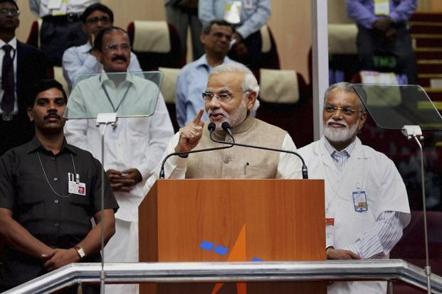 Prime Minister Narendra Modi speaks after the successful launch of the PSLV-C23 in Sriharikota on Monday. Photo: AP