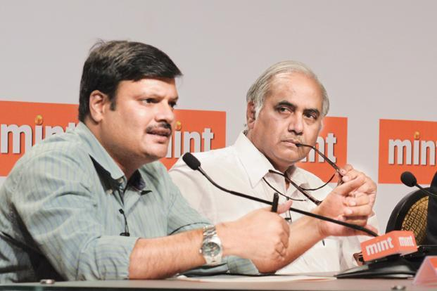 (From left) Assistant professor at Jawaharlal Nehru University Himanshu and BJP leader Seshadri Chari at the Mint pre-budget event.