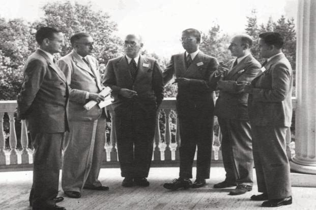 The Indian delegation to Bretton Woods in 1944. It was led by two British officials—Jeremy Raisman and Theodore Gregory. The Indians in the team were C.D. Deshmukh, Shanmukham Chetty, A.D. Shroff and B.K. Madan. Photo: worldbankimflib.org