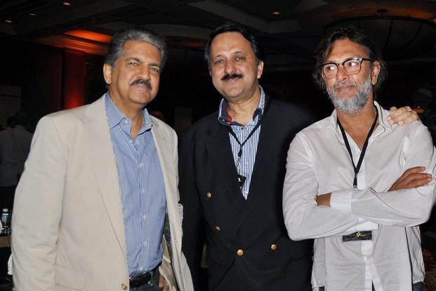 Industrialist Anand Mahindra (left), Rohit Khattar (centre) and Rakeysh Omprakash Mehra (right) at the launch of Cinestaan Entertainment in Mumbai. Photo: PTI