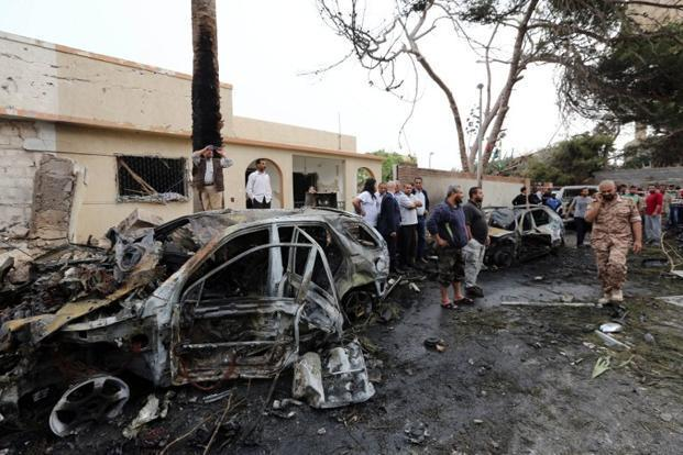 Photo of the aftermath of a car bomb in Tripoli. Solomon who was hit by shells while returning from work, had called the family two days ago and told them that he would be reaching home later this week. Photo: AFP