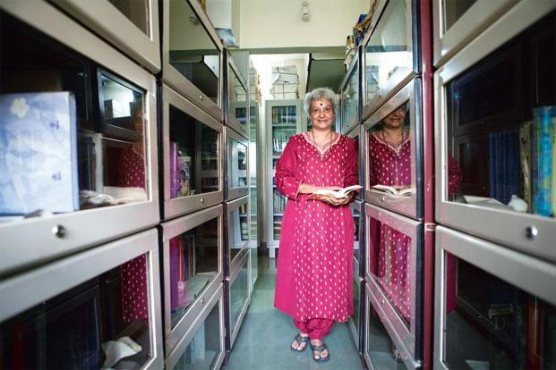 C.S. Lakshmi at the library and archives section of SPARROW's office in Dahisar, Mumbai. Photo: Nayan Shah/Mint