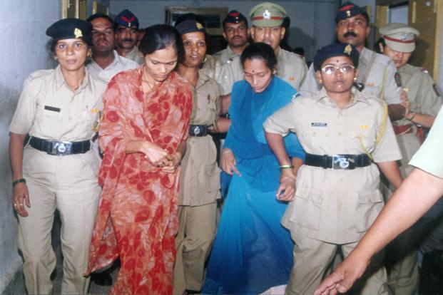A file picture of Seema Mohan Gavit (in red sari) and Renuka Shinde. It's been eight years since their death sentence was upheld by the Supreme Court. Photo: Hindustan Times