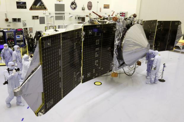 A file photo of the Maven spacecraft as it is displayed for the media at the Kennedy Space Center in Cape Canaveral, Florida. Photo: Reuters